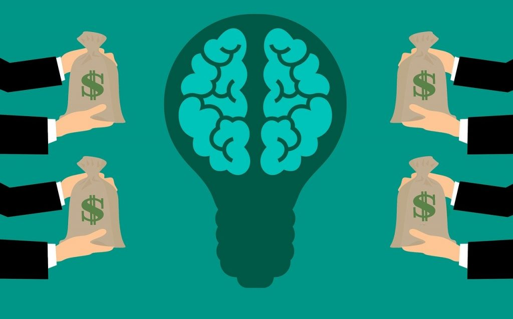 Monetize your website (illustration of hands holding out money bags to a bright idea - a bulb with a living brain inside)