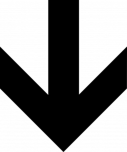 black and white downward arrow (signally below the fold web design for an index page)