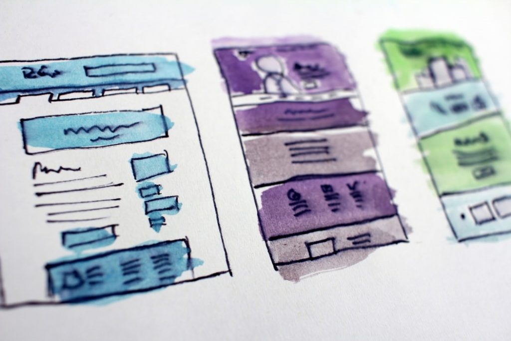 ABove the fold web design wireframe (watercolor on paper)