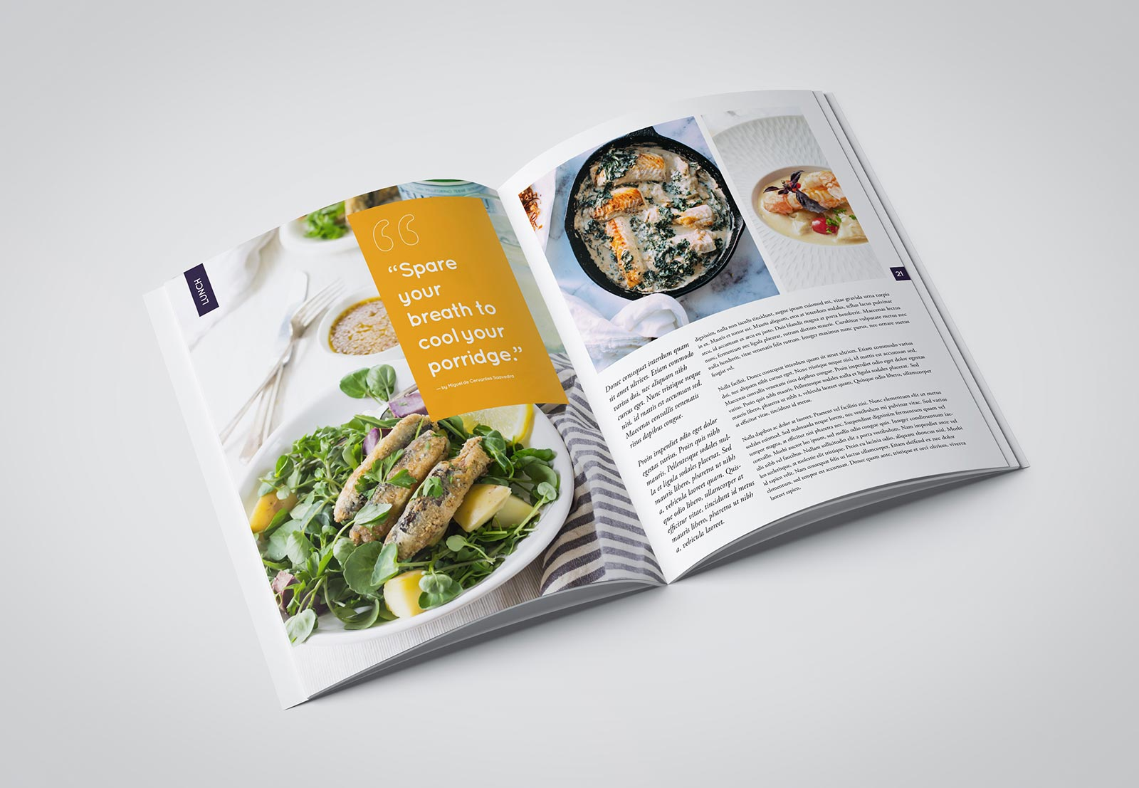 Minimalist food magazine layoutdesign example 3
