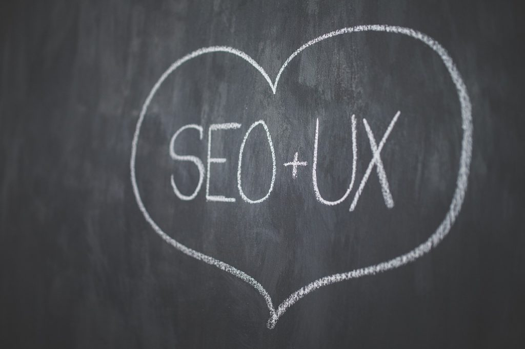A chalkboard the reads: SEO + UX