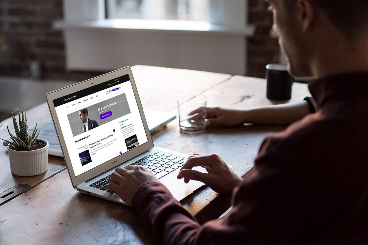 Website displayed in the desktop/laptop format on a laptop