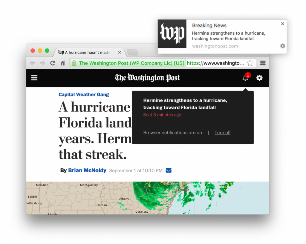 Screenshot of the Washington Post