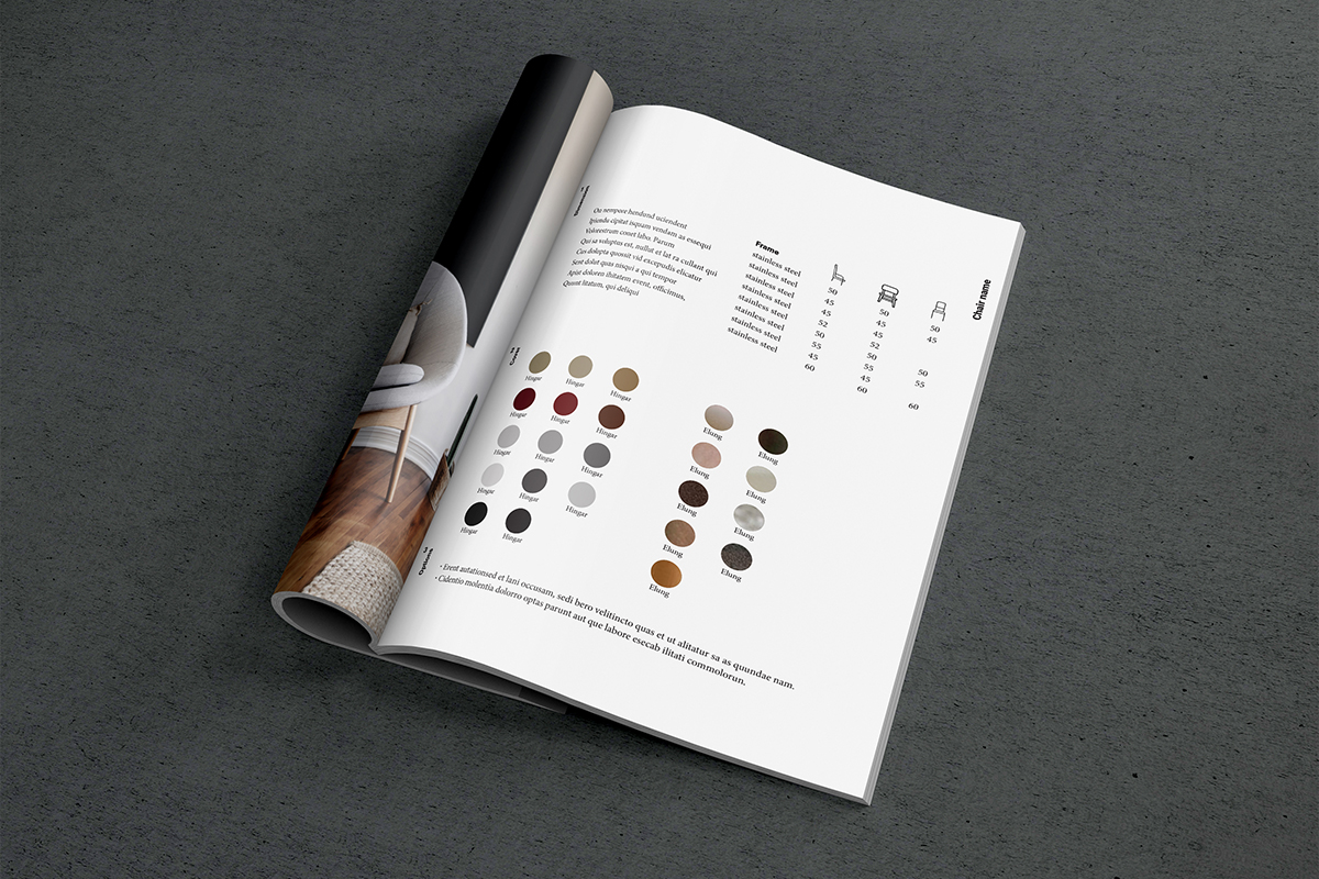 Print catalog showing color splotches