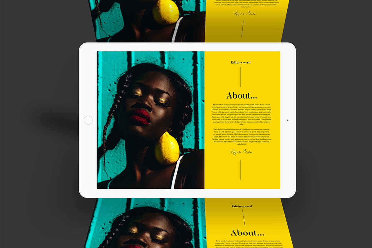 Tablet computer display of a digital magazine with dark-skinned woman and dark mustard-yellow side panel