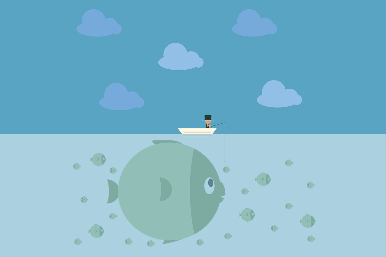 Fish under a boat (email subscriber bait illustration)