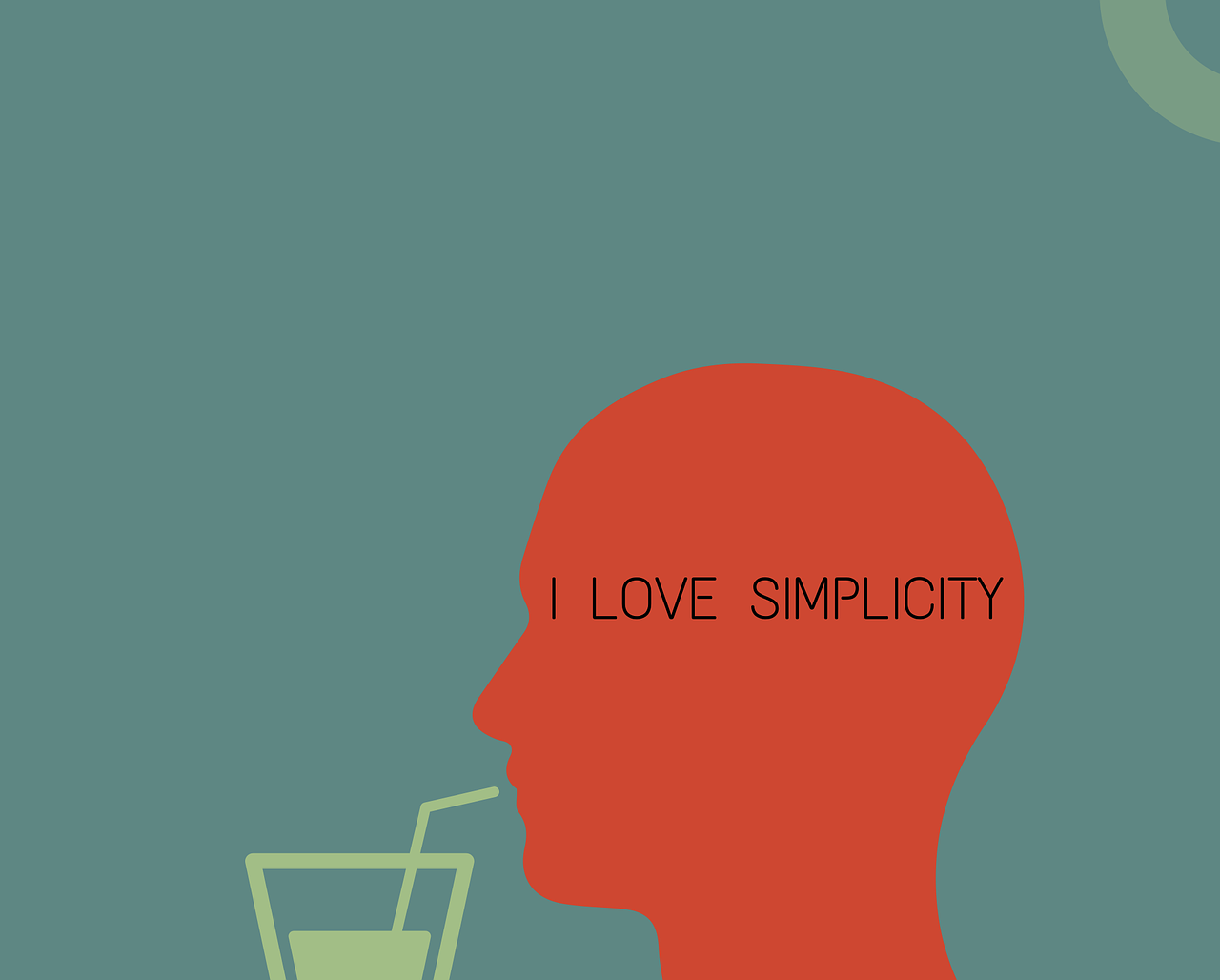 """Outline of a man sipping a drink """"I love simplicity"""" (in multiplatform publishing)"""
