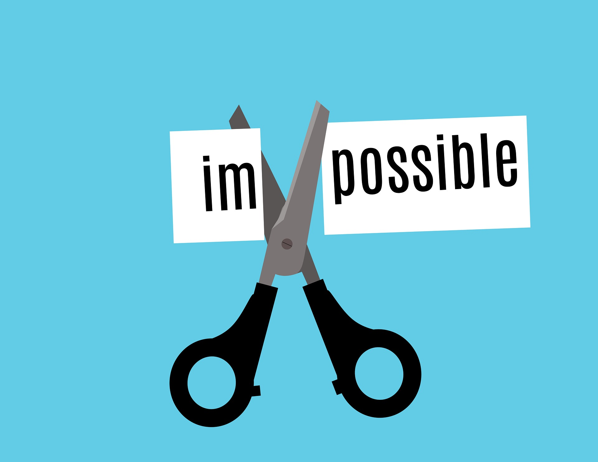 """illustration of scissors cutting the """"im"""" from the word """"impossible"""""""