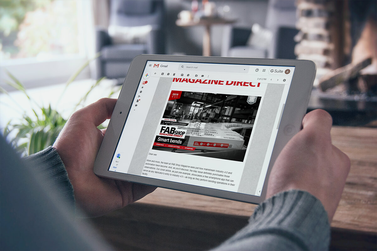 Digital trade magazine example on a tablet computer