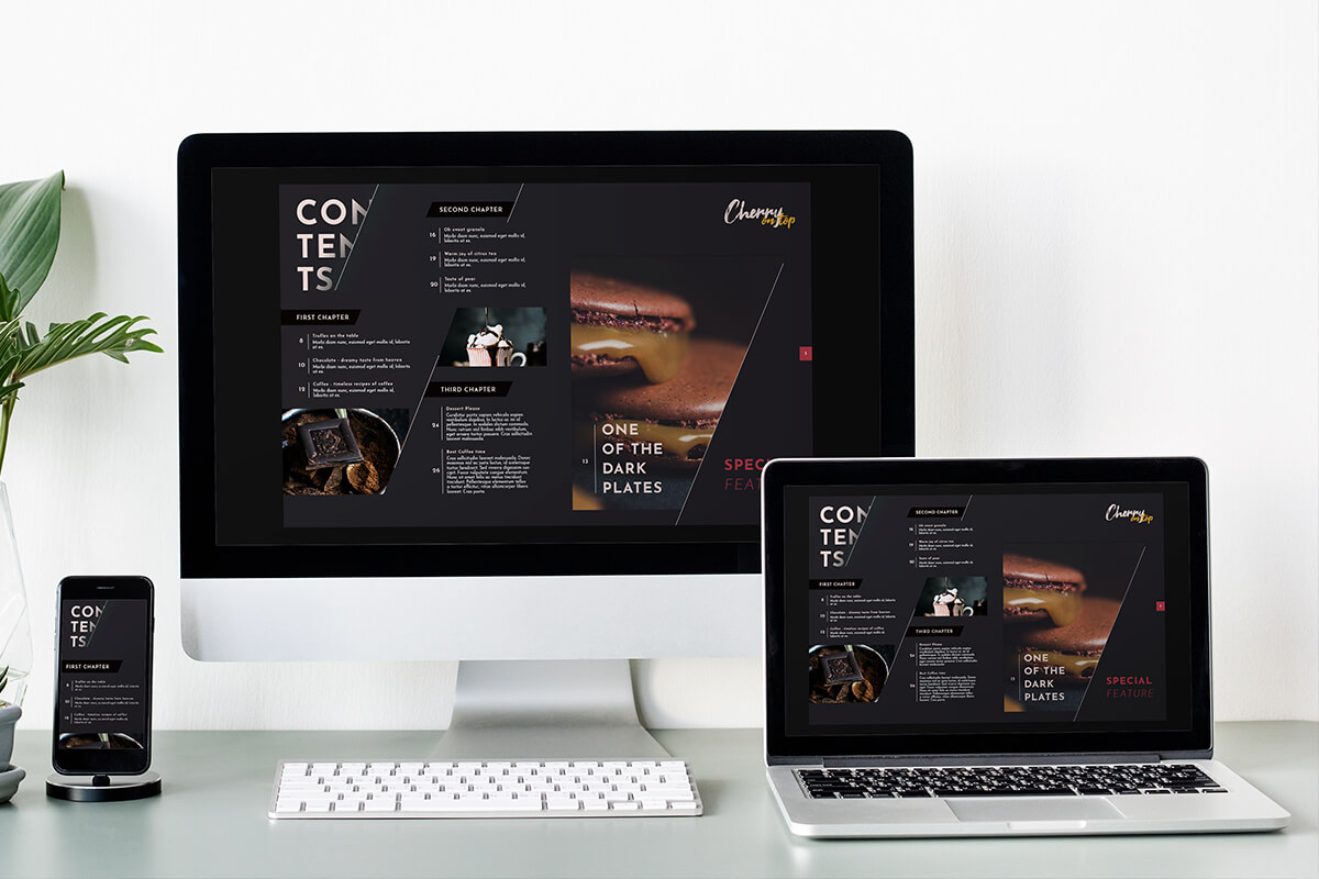 Print magazine transitioned to a digital magazine (and displayed on a PC, laptop and smartphone)