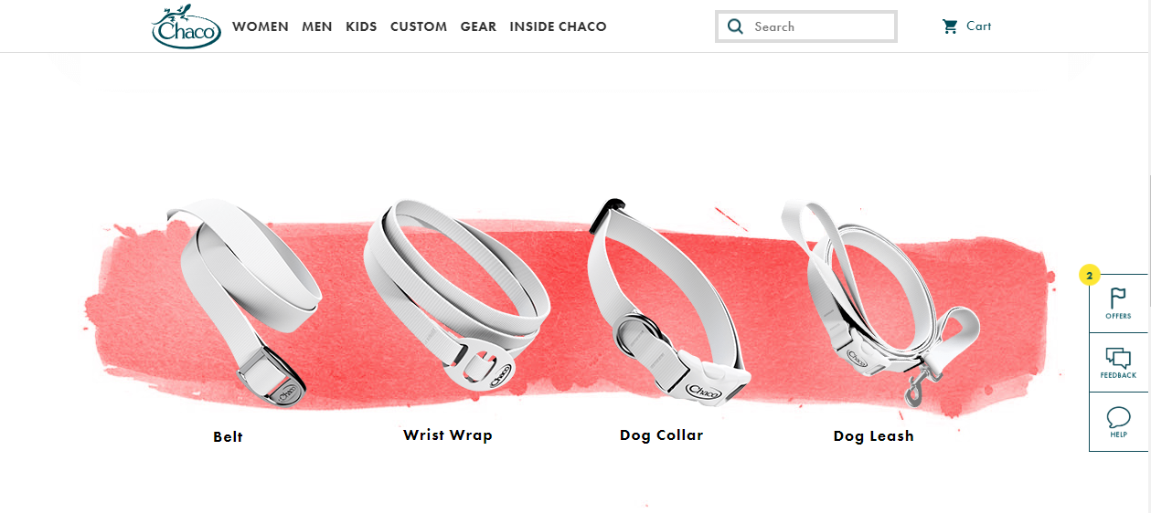 Flat stylized product catalog page layout (beige strap collar and belt accessories)