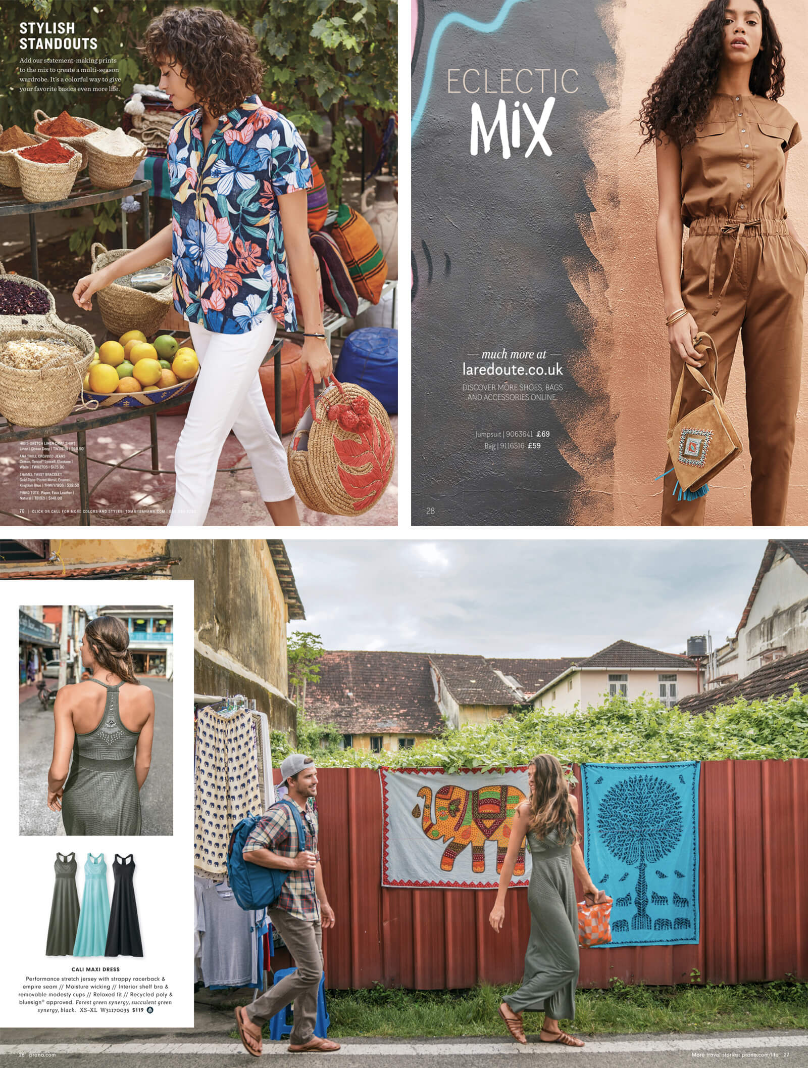 Multilocalism example in product catalog layout design (woman walking through street market)