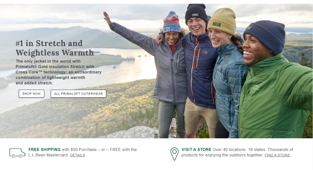 Image of four young people in outdoor clothing on a mountain top (catalog design example from L.L.Bean)