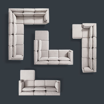 Geometric-shaped couch layout as a space-themed product catalog image