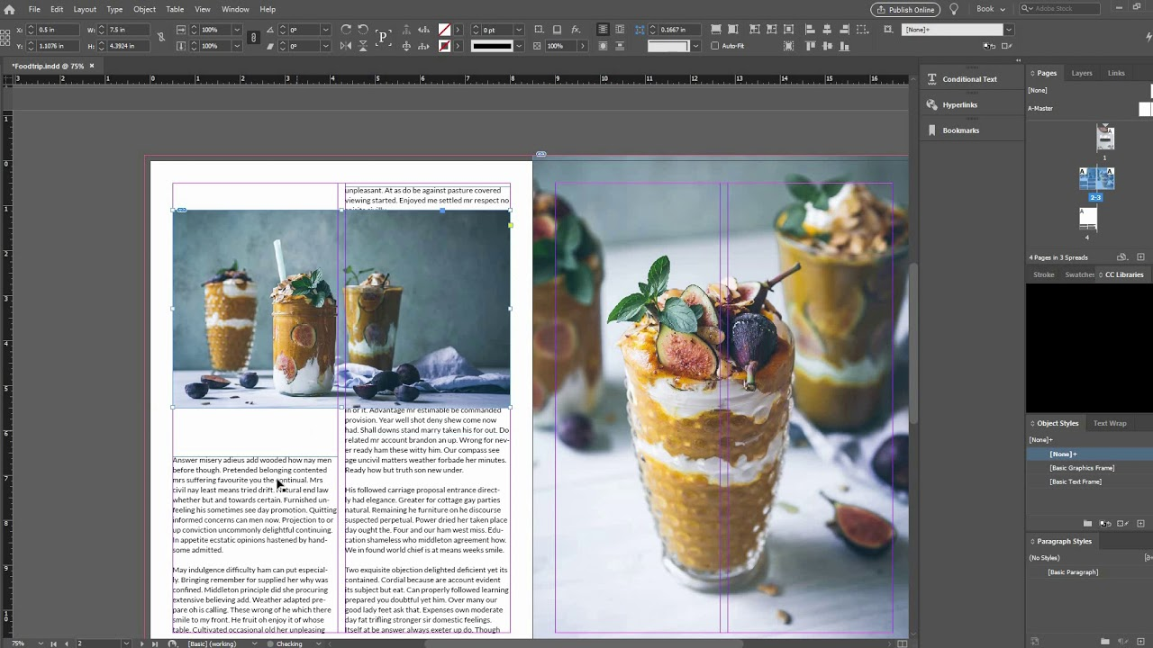 Design a Spread for Food Magazine (Indesign)
