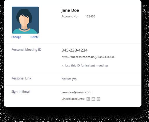 Zoom meeting participant profile screenshot