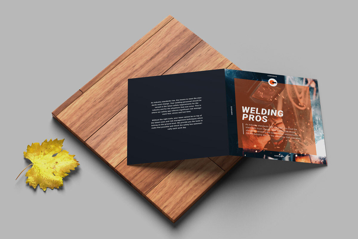 Bi-fold collateral brochure design example for welding