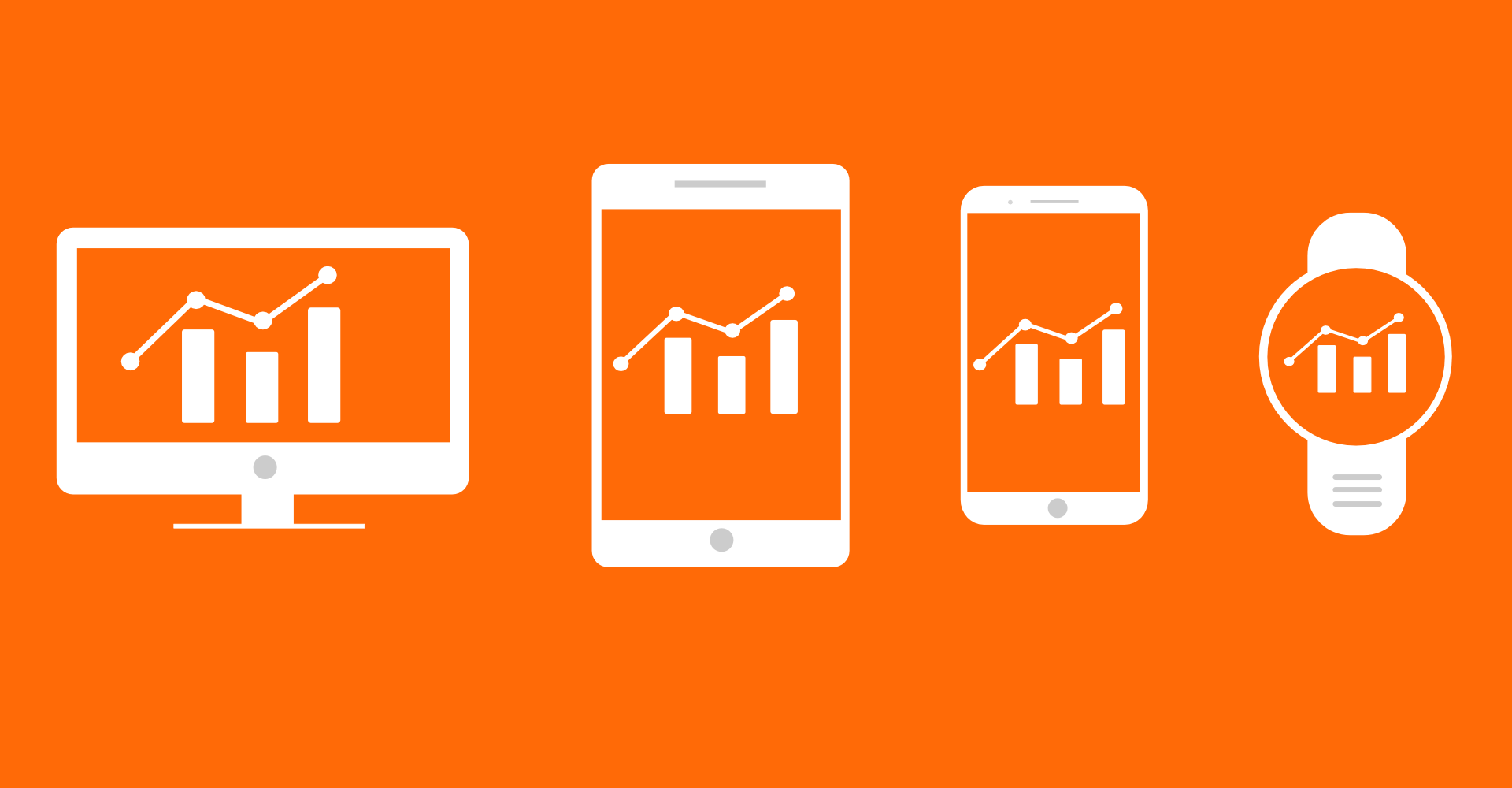 Advanced tracking and analytics for magazines on all devices - flat graphic