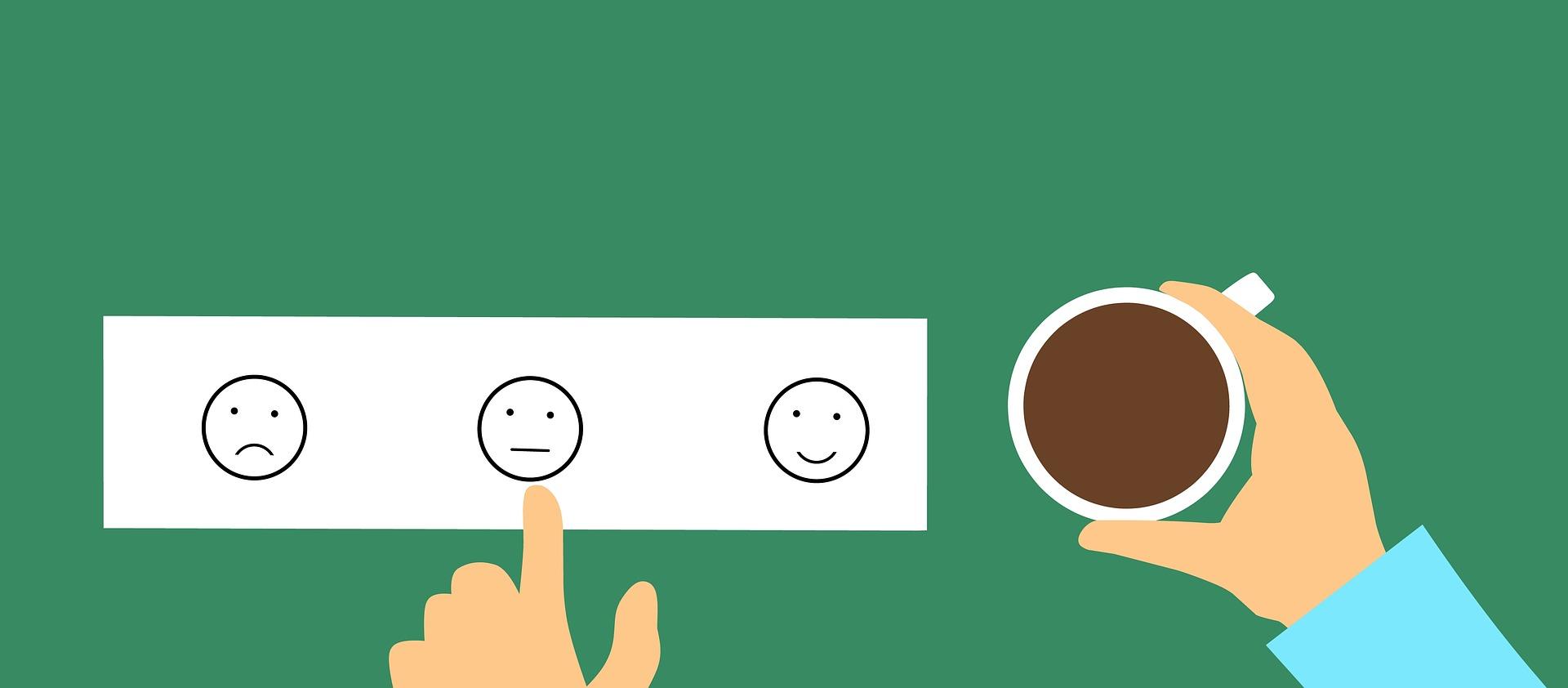 User feedback and coffee mug on desk