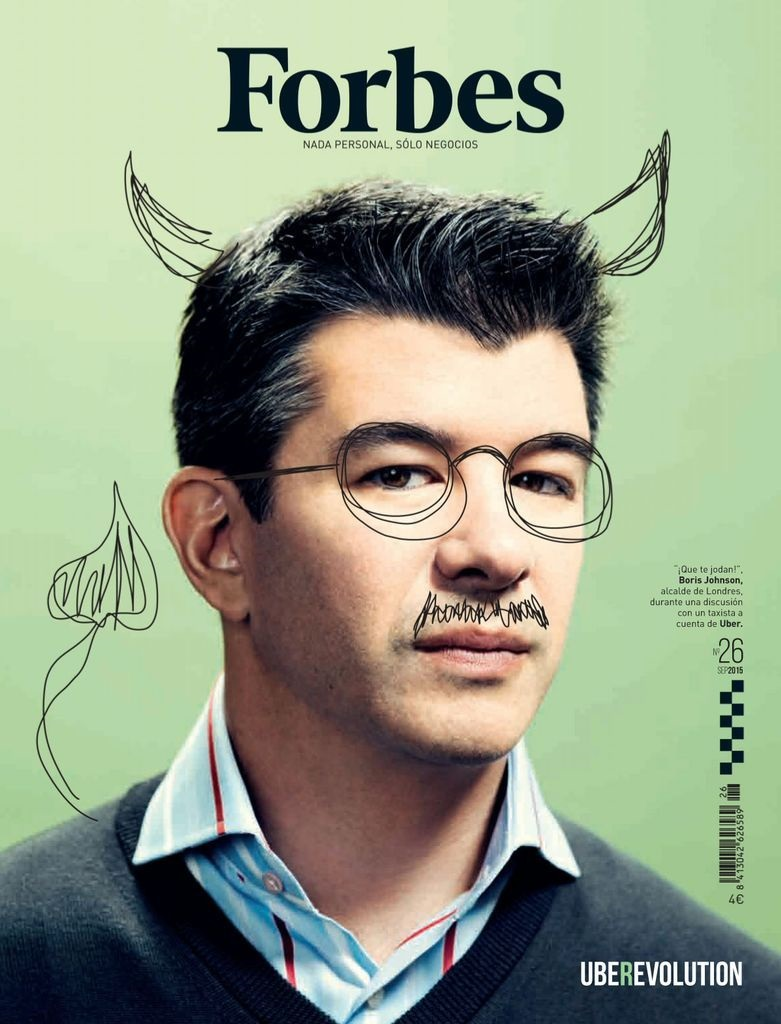 The Photo+Drawing Magazine Cover Idea Example (Forbes - Uber Founder Feature Issue)
